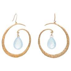 Estate Aquamarine Large Hoop Drop Earrings 18 Karat Yellow Gold Hammered Jewelry