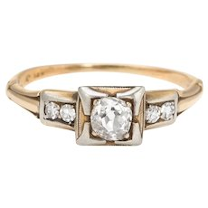 Antique Deco Diamond Engagement Ring 14 Karat Yellow Gold Vintage Jewelry Old Mine Cut