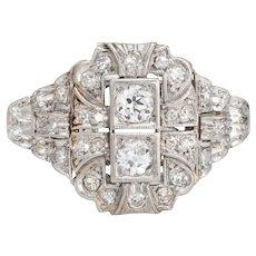 Antique Deco Diamond Ring Platinum Cocktail Vintage Estate Jewelry Sz 8 Heirloom