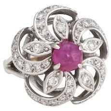 Vintage Cabochon Ruby Diamond Ring 14 Karat White Gold Round Cocktail Estate Sz 5