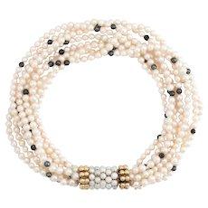 "Vintage 8 Strand Cultured Pearl Bracelet 18 Karat Yellow Gold Estate Jewelry 7.5"""