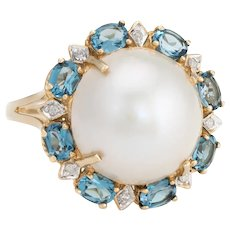 Estate Mabe Pearl Topaz Diamond Ring 14 Karat Yellow Gold Round Cocktail Jewelry Fine