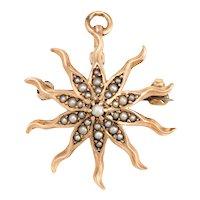 Antique Victorian Starburst Pendant Brooch Vintage 10 Karat Gold Pearl Celestial Sun
