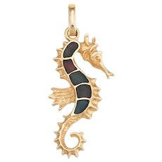 Vintage Seahorse Pendant 14 Karat Yellow Gold Black Opal Inlay Estate Fine Jewelry