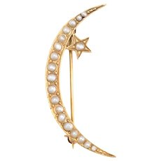 Antique Victorian Brooch Pin Crescent Moon Star 14 Karat Yellow Gold Fine Vintage
