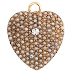 Antique Victorian Heart Pendant Pave Seed Pearls Diamond 14 Karat Rose Gold Vintage