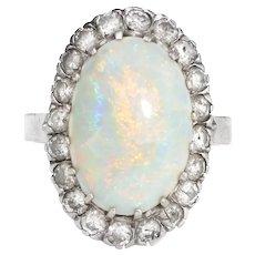 Vintage Natural Opal Diamond Ring 14 Karat White Gold Cocktail Oval Estate Jewelry