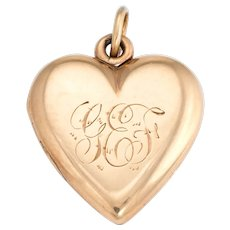 Antique Victorian Heart Locket c1899 Pendant 14 Karat Rose Gold Hair Jewelry Initials