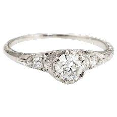 Antique Deco Diamond Ring 0.40ctw OEC Engagement Vintage Heart Jewelry Estate