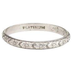 Antique Deco Wedding Band Sz 6.5 Dogwood Pattern Platinum Vintage Fine Jewelry