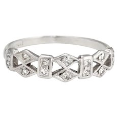 Antique Deco Diamond Band Platinum Ring Geometric Pattern Vintage Fine Jewelry