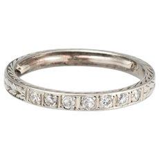 Antique Deco Diamond Band 18 Karat White Gold Ring Sz 5.5 Vintage Fine Jewelry