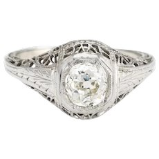 Antique Deco Diamond Ring 0.60ctw Old Mine Filigree Engagement Vintage Jewelry