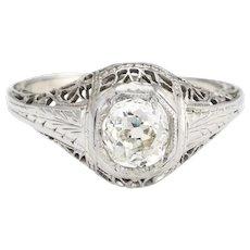Antique Deco Diamond Ring 0.60ctw Old Mine Filigree Engagement Vintage Jewelry