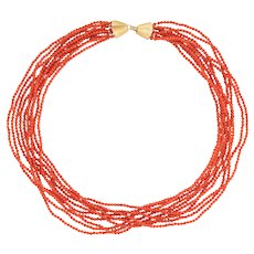 Vintage Micro Coral Necklace 10 Strand 2.5mm Beads 14 Karat Yellow Gold Jewelry 17""