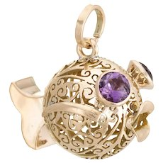 Vintage Fish Pendant Charm 14 Karat Yellow Gold Amethyst Eyes Estate Fine Jewelry