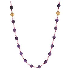 "Vintage Fluted Amethyst Ruby Pearl Bead Necklace 14 Karat Gold Long 42"" Jewelry"