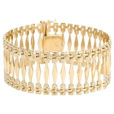 "Vintage 1"" Wide Link Bracelet 18 Karat Yellow Gold Estate Fine Jewelry 7.5 Inches"