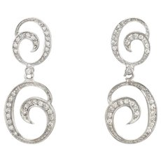 Estate Diamond Pendant Drop Earrings 18 Karat White Gold Swirls Fine Vintage Jewelry