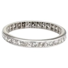 Antique Deco Diamond Band Sz 8.25 Platinum Wedding Ring Vintage Fine Jewelry