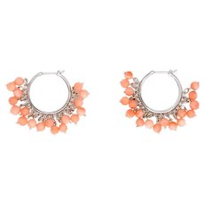 """Estate Coral Fringe Earrings Hoops 3/4"""" 18 Karat White Gold Estate Fine Jewelry"""