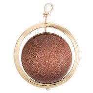 Vintage Saturn Pendant Charm 14 Karat Yellow Gold Stone Celestial Planet Jewelry