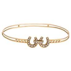Antique Victorian Bangle Bracelet Double Horseshoe Good Luck 14 Karat Yellow Gold