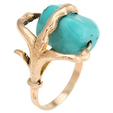 Vintage Dragon Claw Ring 14 Karat Yellow Gold Turquoise Orb Estate Fine Jewelry 6.75