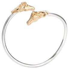 Vintage Horse Cuff Bracelet 14 Karat Yellow Gold Sterling Silver Double Headed