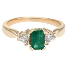 Vintage Emerald Diamond Ring 14 Karat Yellow Gold Trillion Engagement Estate Jewelry