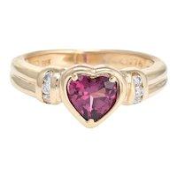 Rhodolite Garnet Heart Ring Diamond Estate 14 Karat Yellow Gold Fine Jewelry 6.25