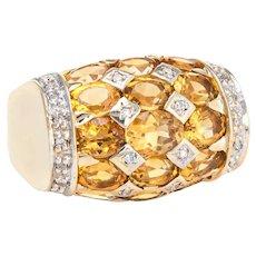 Golden Topaz Diamond Dome Ring Vintage 14 Karat Yellow Gold Sz 5 Estate Jewelry
