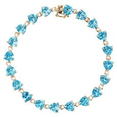 16ct Blue Topaz Bracelet Tennis Line Estate 14 Karat Yellow Gold Trillion Cut Jewelry
