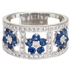Vintage Sapphire Diamond Ring Flowers Wide Cigar Band Platinum Sz 6 Jewelry