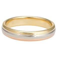 Vintage 1998 Cartier Tri Gold Ring 18 Karat Sz 60 9 White Yellow Rose Wedding Band