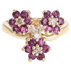 3 Flower Ring Ruby Diamond Vintage 14 Karat Yellow Gold Estate Fine Jewelry Sz 7.5