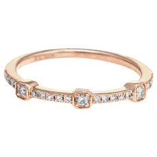 Diamond Stacking Ring Sz 7 14 Karat Rose Gold Estate Fine Jewelry Wedding Band