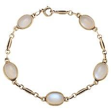"Antique Deco Rainbow Moonstone Bracelet Vintage 14 Karat Yellow Gold Estate 7"""