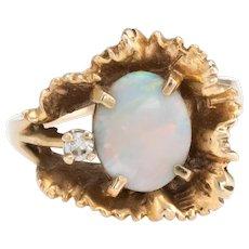 Vintage 70s Opal Ring 14 Karat Yellow Gold Cocktail Freeform Estate Fine Jewelry 7.25