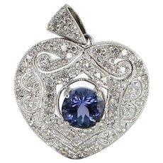 Tanzanite Diamond Heart Pendant Vintage 10 Karat White Gold Estate Fine Jewelry