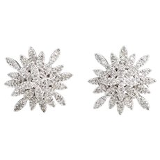 Estate Diamond Snowflake Earrings 14 Karat White Gold Clip On Vintage Fine Jewelry