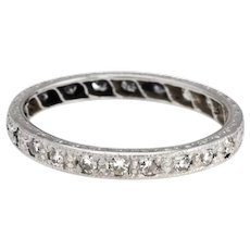 Antique Deco Diamond Band Sz 6.25 Platinum Wedding Ring Etched Vintage Jewelry
