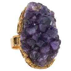 Vintage Amethyst Geode Ring 18 Karat Yellow Gold Large Oval Crystal Cocktail Estate 6