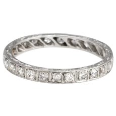 Antique Deco Diamond Band Sz 7 Platinum Wedding Ring Etched Vintage Jewelry