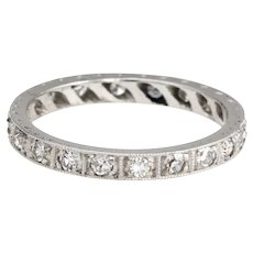 Antique Deco Diamond Band Sz 5 Platinum Wedding Ring Etched Vintage Jewelry