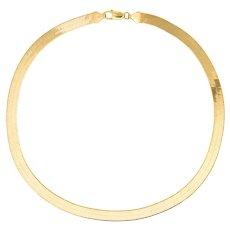 "Vintage 80s Herringbone 18"" Necklace 14 Karat Yellow Gold 8mm Estate Jewelry 23.2gm"
