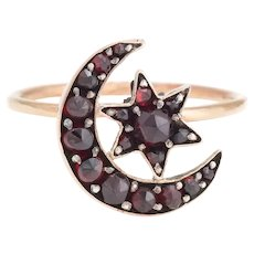 Antique Victorian Conversion Ring Bohemian Garnet Crescent Moon Star 10 Karat Gold