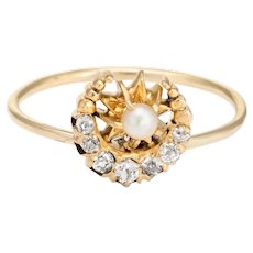 Antique Victorian Conversion Ring Diamond Pearl Crescent Moon Star 14 Karat Gold