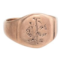 Antique Victorian Signet Ring 9 Karat Rose Gold Sz 6.75 Vintage Fine Jewelry Old