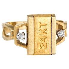 Vintage 70s 24 Karat Gold Bar Ring Diamond 18 Karat Gold Estate Cocktail Jewelry Ingot